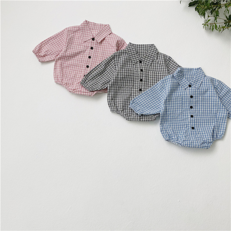 MILANCEL Spring New Baby Bodysuits Turn Down Collar Baby Boys Clothing Little Plaid Baby One Piece