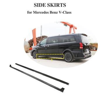 Carbon Fiber Door Extension Lip Aprons Bottom Fender Side Skirts For Mercedes-Benz V Class V250 V220d 2015-2019 image