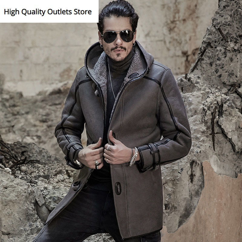 Genuine Leather Jacket Men Real Leather Coat Retro Vintage Shearling Sheepskin Fur Coats Mid Long With Hood Fashion Nordic Style
