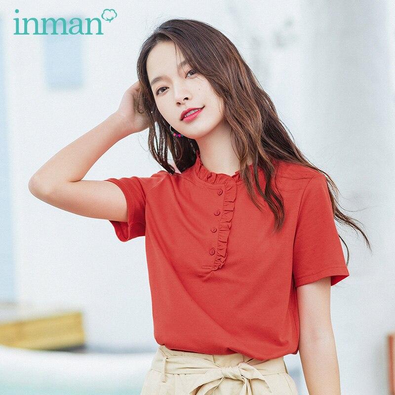 INAMN Summer New Arrival Short Sleeve Cute Sweet All Match Causal Dating Tops Black Fungus Design T-Shirt
