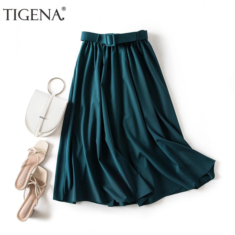 TIGENA Elegant Long Skirt for Women with Belt 2021 Summer Korean Fashion Solid A Line Elastic High Waist Pleated Skirt Female