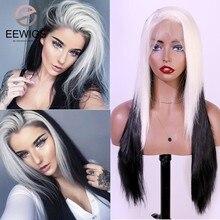 Eewigs ombre cinza peruca dianteira do laço sintético com linha fina natural parte média resistente ao calor glueless curto ondulado perucas para mulher