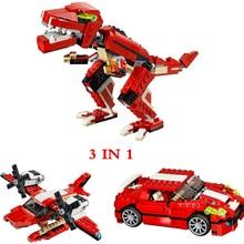 цены на City Architect Creator 3 in 1 Roaring Dinosaur sportscar plane Building Blocks Model kit Bricks Educational Toys for Children  в интернет-магазинах