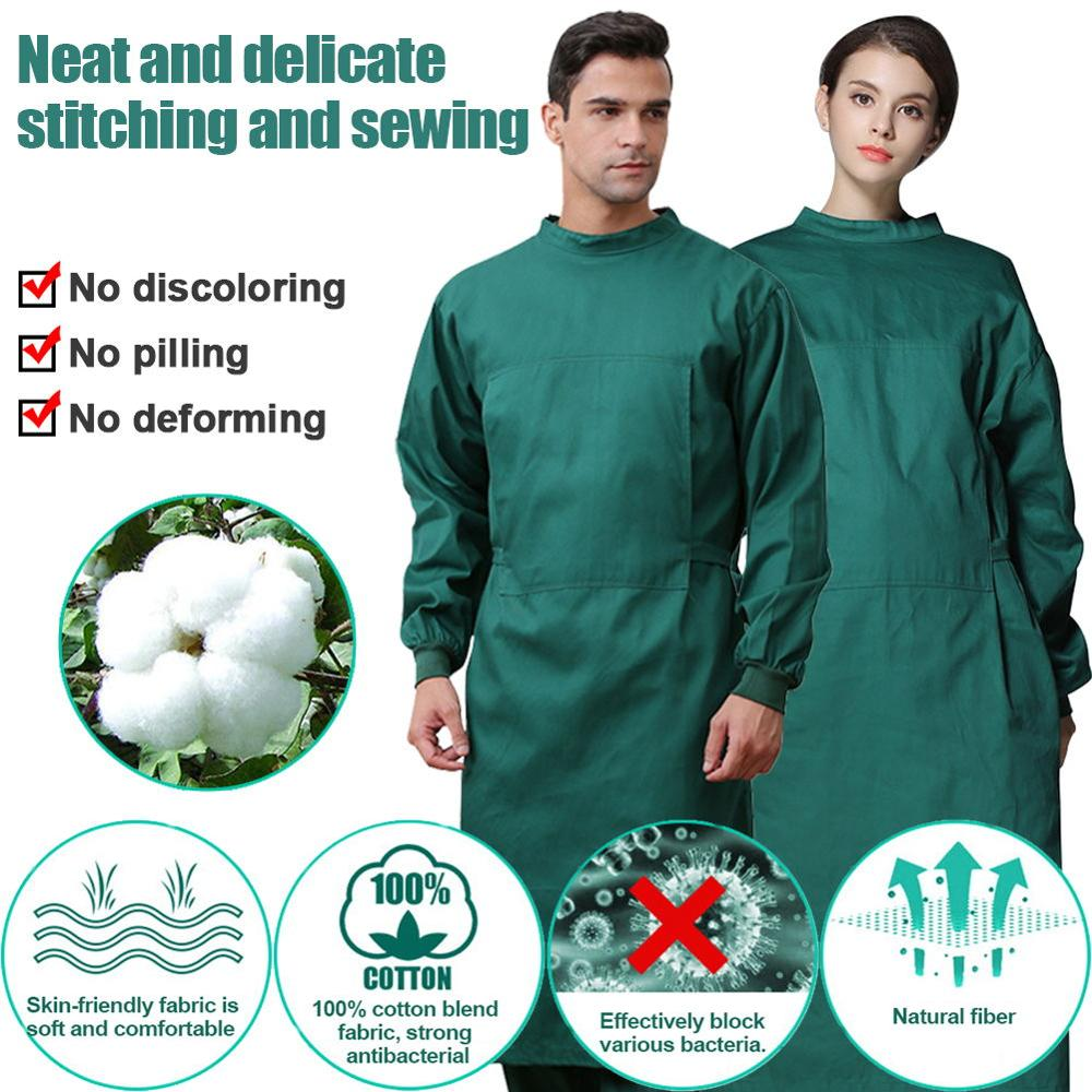 Surgical Gown Safety Protective Clothing 100% Cotton Isolation Gown Reusable Breathable Surgical Isolation Gown Coverall Large
