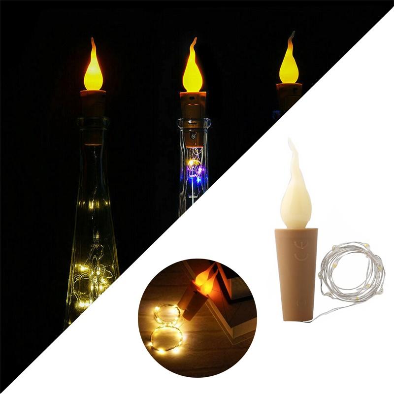 1M 2M 10 / 20LEDs Candle Cork Shaped Fairy Light LED Copper Wire String Lights Wine Bottle For Glass Craft Christmas Party Decor