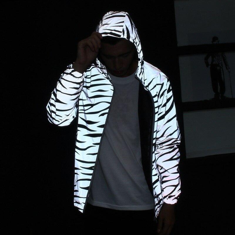 Men Autumn Full Reflective Windbreaker Waterproof Jacket Male High Street Hip Hop Loose Hooded Coats Y1941