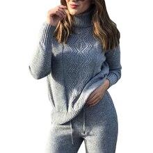 MVGIRLRU suave inverno lã Ternos de malha densa quente ternos camisola de gola alta malhas pulôver tops solto pant 2 pedaço definido feminino