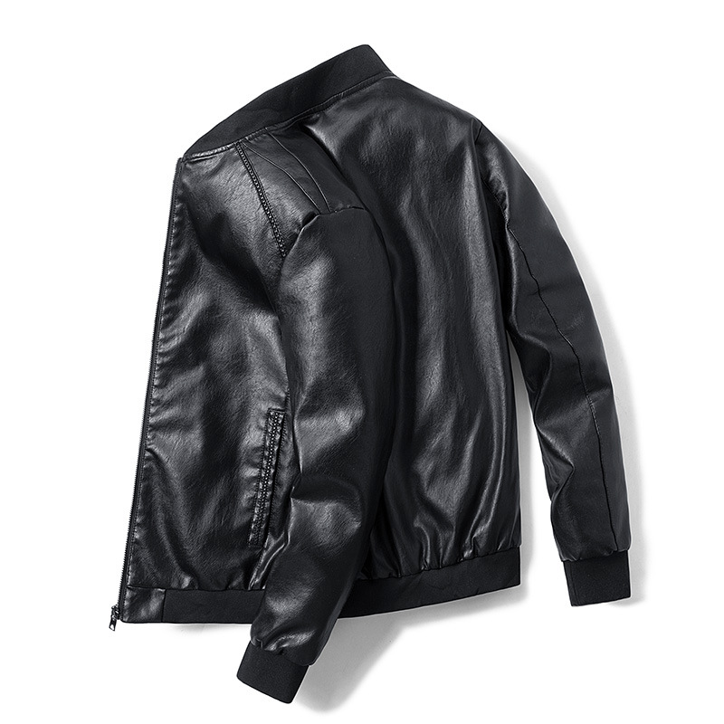 New Spring And Autumn Stand Collar Slim Leather Jacket Casual  PU Motorcycle Zipper  Men Leather Jacket