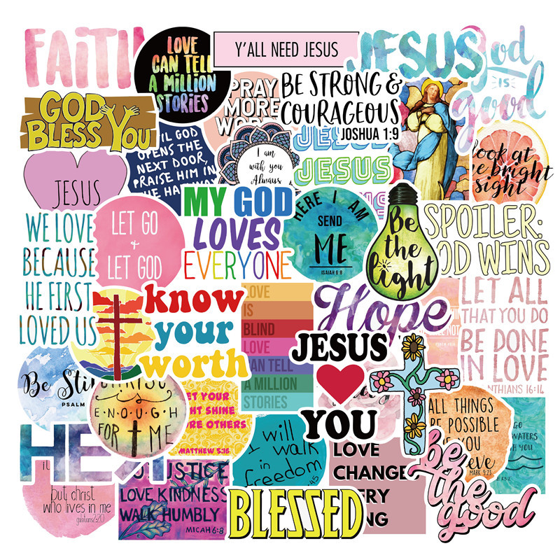 50pcs Jesus Christians Believe In Famous Sayings Word Stickers For Styling Motorcycle Phone Laptop Case Children TOY Sticker F4