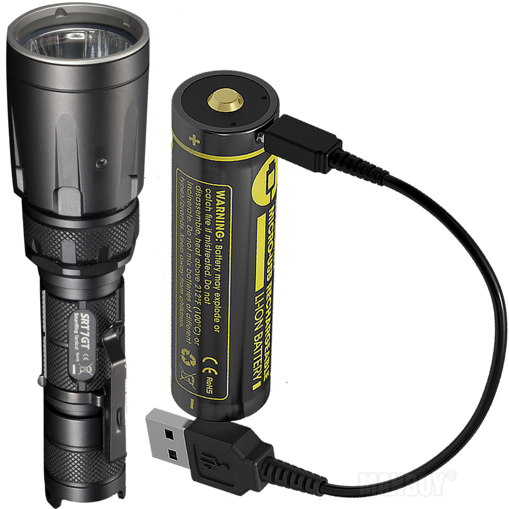 NITECORE 5 Color SRT7GT + USB Rechargeable Battery CREE XP-L HI V3 1000LM Smart Ring Waterproof Flashlight UV Light Rescue Torch