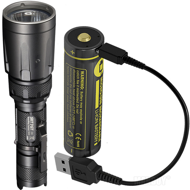 Nitecore 5 Kleur SRT7GT + Usb Oplaadbare Batterij Cree XP L Hi V3 1000LM Smart Ring Waterdichte Zaklamp Uv Licht Rescue torch