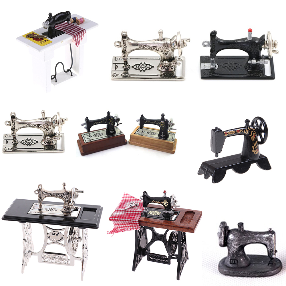 1/12 Dollhouse Miniature Accessories Mini Sewing Machine Head Simulation Furniture Model Toys For Doll House Decoration
