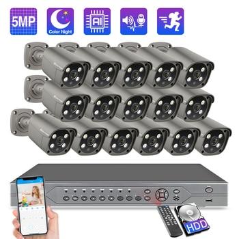 Techage POE NVR Security Camera System 16CH 5MP 48V AI POE IP Camera Two-Way Audio CCTV Vedio Outdoor Surveillance Camera Kit