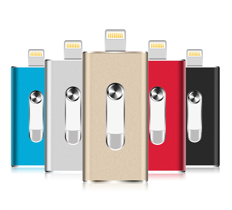 Hot! OTG USB Flash Drive For Apple IPhone IPad 16GB 32GB 64GB USB Memory Stick 3in1 OTG For Android PC Pendrive 128GB 256GB