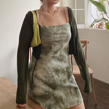 HOUZHOU Plus Size Knit Bodycon Dress Women Green Y2K Summer Tie-Dye Sexy Sleeveless Spaghetti Strap Beach Dresses Party L-4XL