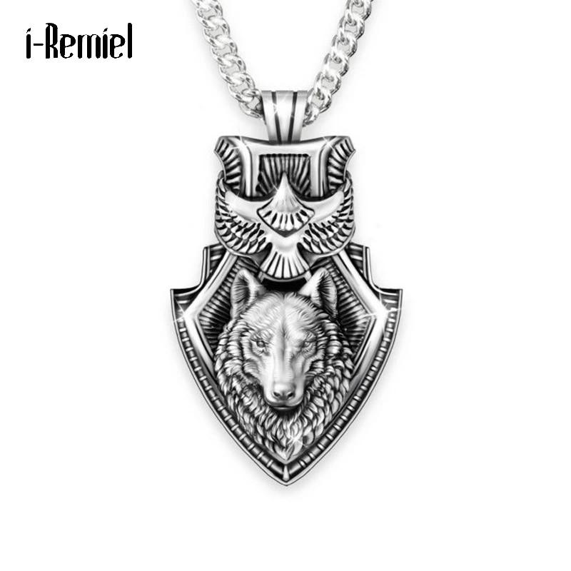 Men Eagle Wolf Head Portrait Cross Necklace Hip Hop Punk Personality Necklace