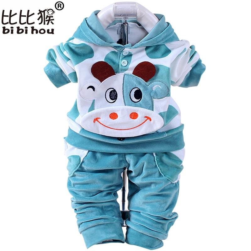 Baby Boys Girls Cartoon Cow Velvet Clothing Set Children Hooded Pants Infant Boy Girl Clothes Sport Sets Christmas Newborn Bebes