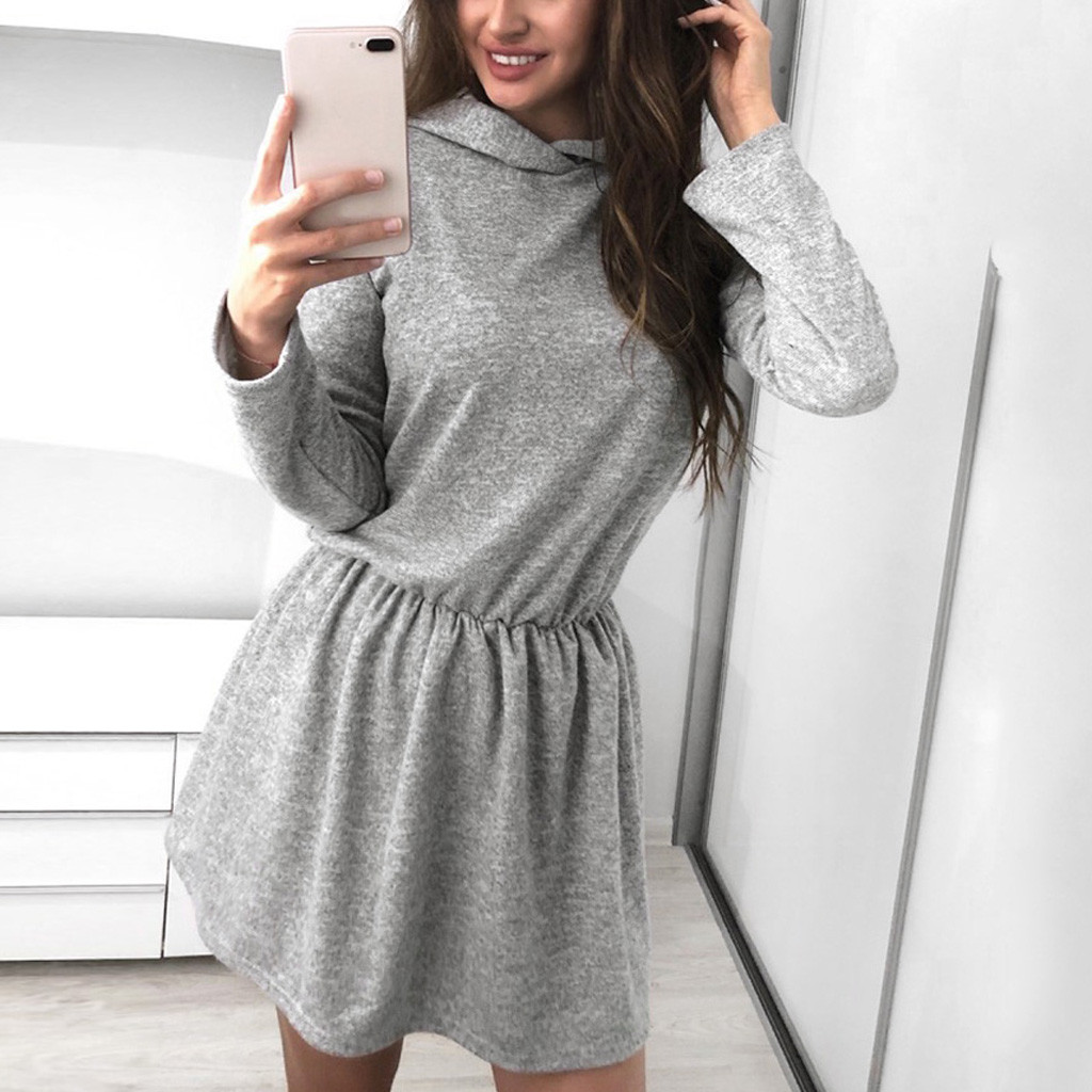 Winter Warm Women Casual Straight Solid Dress Ladies Long Sleeve Hooded Mini Party Dresses Sportswear Clothing Sukienka#J30