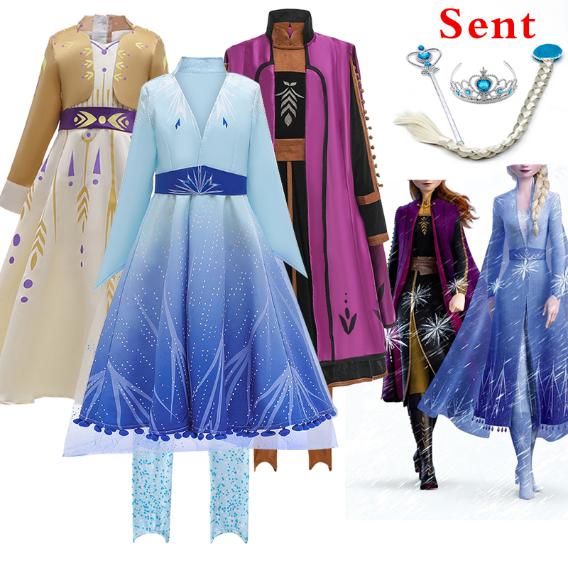 Best Selling Princess Frozens 2 Anna Aisha Party Dress Girl New Year Party Dance Anna Aisha Role Playing Princess Dress