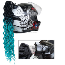 Colorful Helmet Decorations Hair Curly Braids Motocross Full Face Off Road Helmet Decoration Diamond Suction Cup Car Accessories