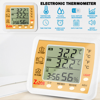 ZD208 Thermometer Hygrometer Gauge Indicator Indoor Weather Station Automatic Electronic Temperature Humidity Monitor Clock#1 image