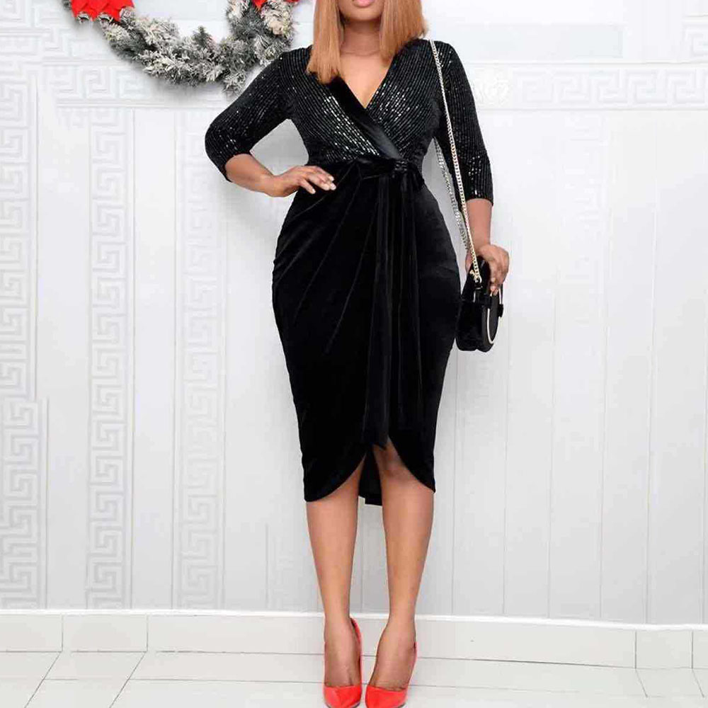 Women Black Dress Elegant Sequins Bow Belted Patchwork Cocktail Party Dresses Sexy V Neck Irregular Club Wear Bodycon Vestidos