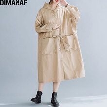 DIMANAF Plus Size Autumn Women Jackets Coats Oversize Button Hooded Overcoat Loose Outerwear Cotton Solid Pockets Female Clothes