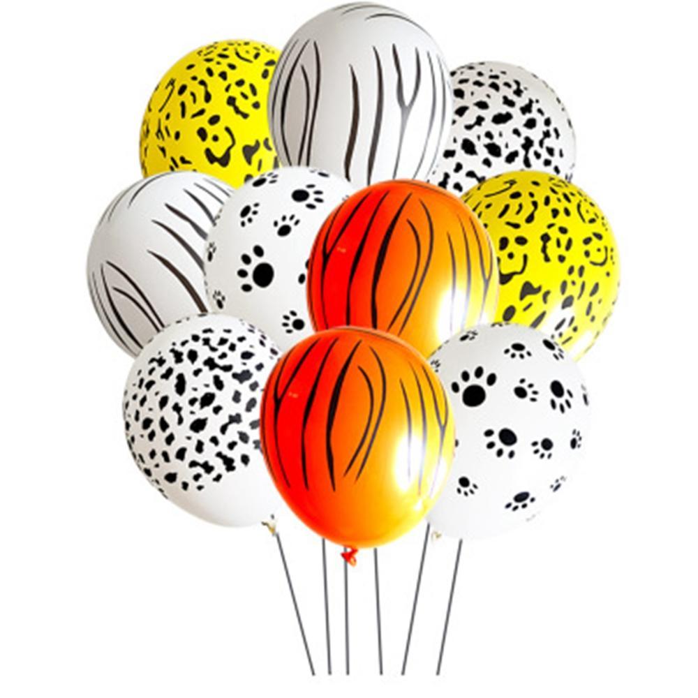 10pcs Animal Paw Balloon Cow Tiger Zebra Jungle Safari Baloon Happy Birthday Party Decor Kids Ballon Woodland Jungle Balon