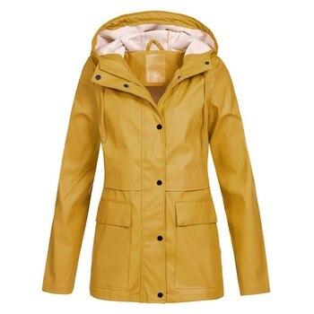 Women Oversize Rain Coat Jacket Outdoor Hoodie Waterproof Overcoat Lady Windproof Coat Hooded Zipper Outwear Ladies Jackets