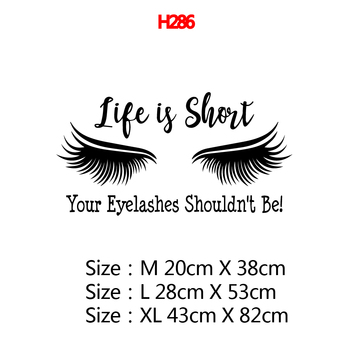 Beauty Salon Eye Lashes Live Love Wall Sticker Home Decoration Eyes Quotes Wallpaper Waterproof Wall Decoration Murals Decal 26