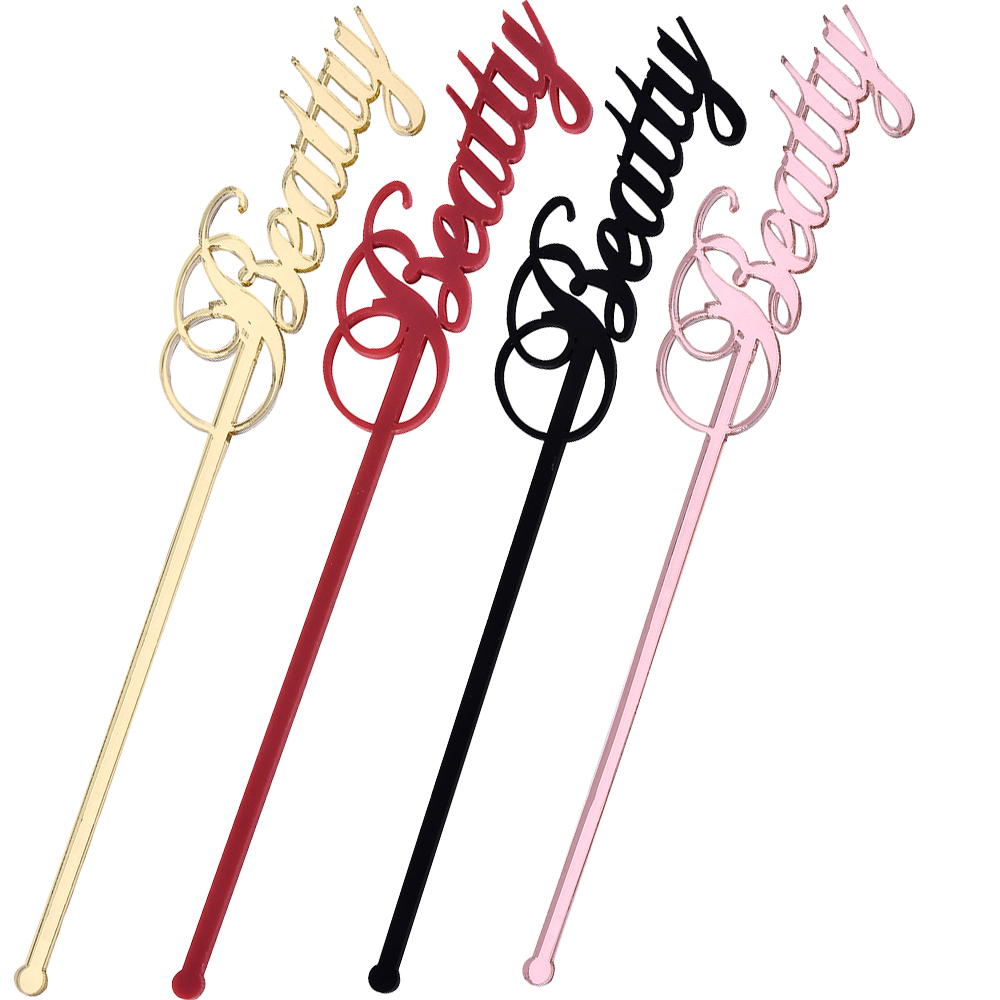 50PCS Personalized Swizzle Sticks Cocktail Name Drink Stirrers Sticks Table Place Name Card Wedding Gift Baby Shower Party Decor image