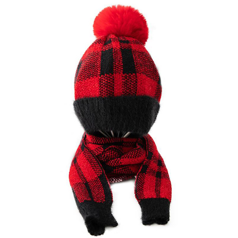 Doitbest 4 To 10 Years Old Kids Beanie Sets Fur Grid Villi 3 Pcs Boys Girls Winter Knit Hat Scarf Glove Set