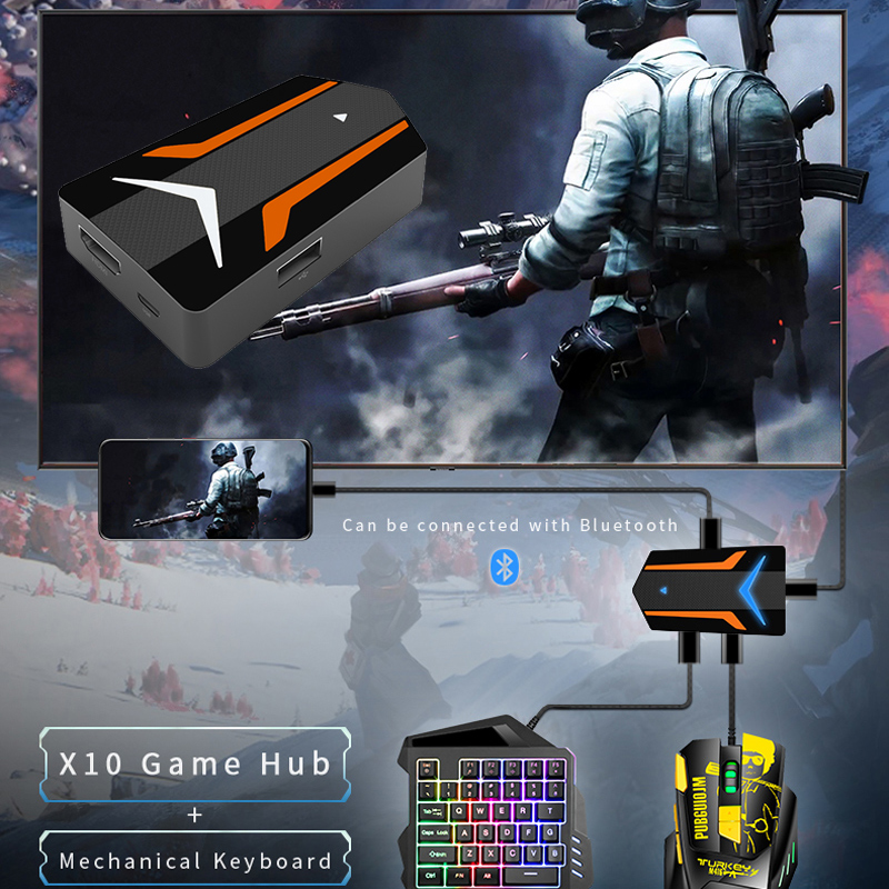 PUBG Mobile Game Controller 4K USB To HDMI HUB Adapter For IOS Android Phone To TV Projector Mouse Keyboard Adapter Converter