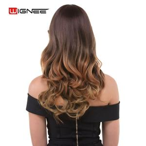 Wignee Synthetic Wigs With Bangs For Women Long Wavy Natural Hair Temperature 3 Tone Ombre Brown Glueless Cosplay Fake Hair Wigs(China)