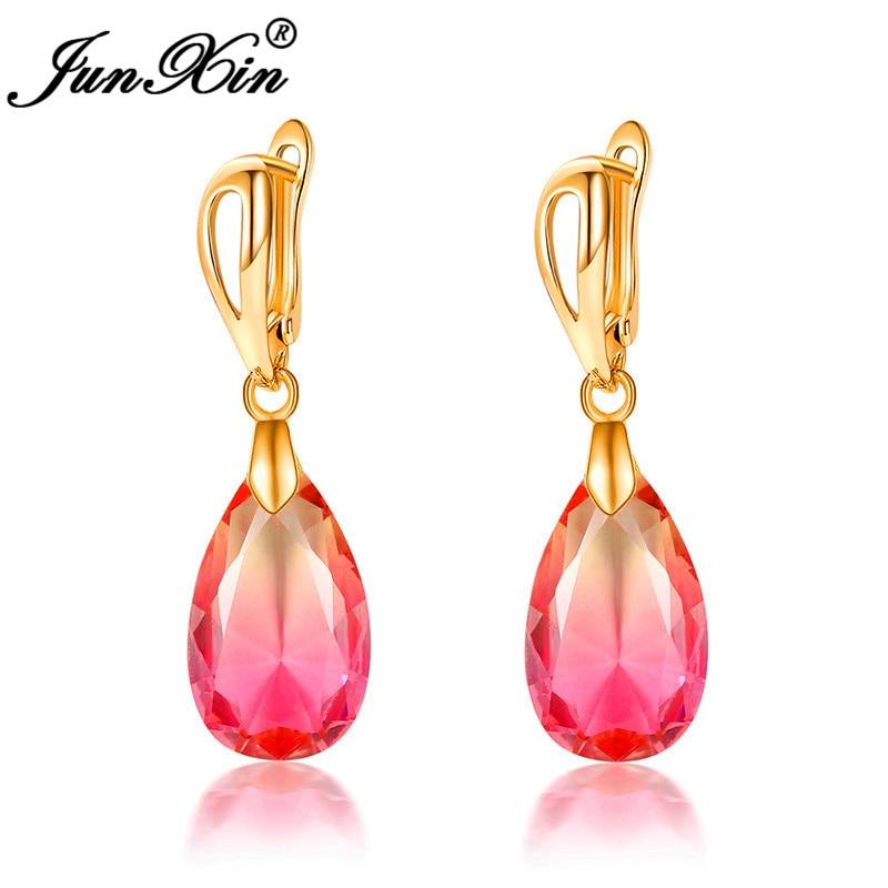 Cute Pink Black Blue Green Crystal Rainbow Earrings Yellow Gold Colorful Zircon Teardrop Hoop Earrings For Women Party Jewelry
