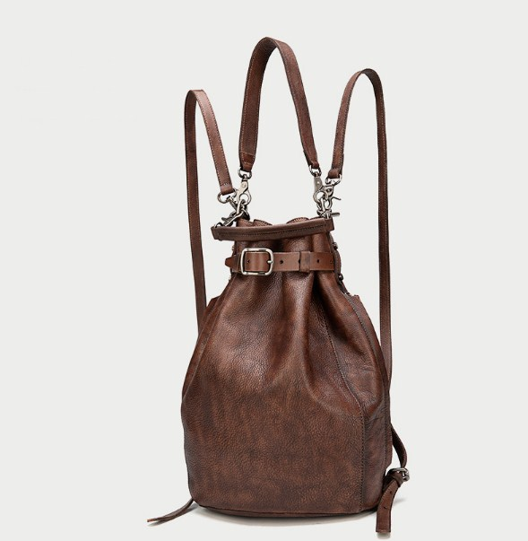 Couro genuíno vintage feminino sólido pequeno balde saco cinta mochila - 3