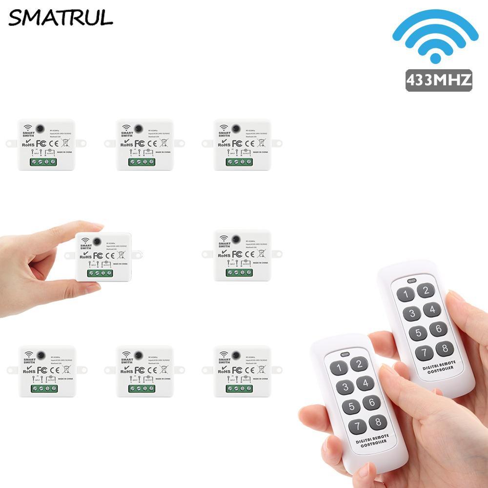 SMATRUL мини Беспроводной умный переключатель дистанционного Управление светильник электрические 433 МГц RF 8 пульта дистанционного управления ...