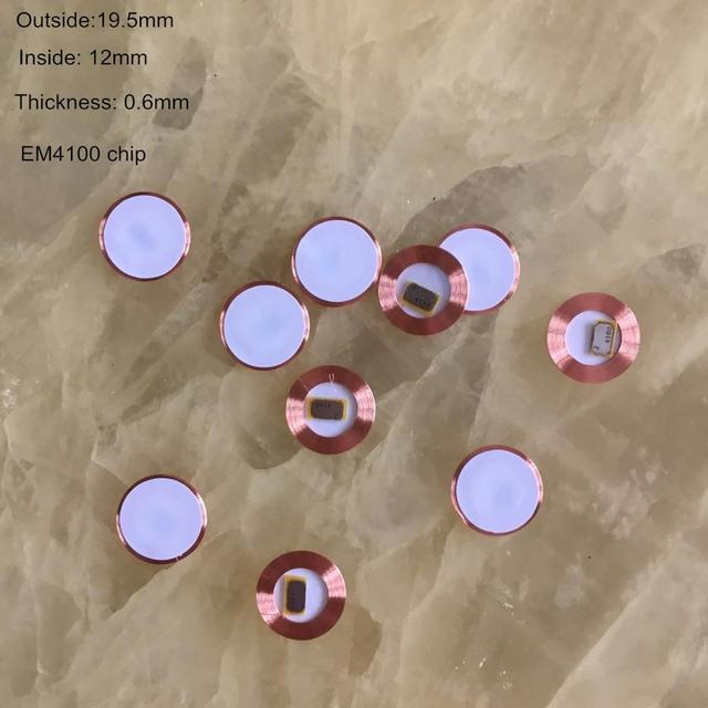 Bobine puce ultra mince et inscriptible   10 pièces/lot, 125Khz, EM4100, RFID lecture seule, étiquette de pièce de monnaie T5577, diamètre 19.5mm, EM