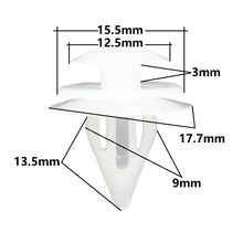 Car clips Auto fasteners door panel trim fits 9mm Universal white plastic clip 100 Pieces