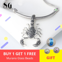 Black Scorpion Fit pandora Pendant Thomas Style Rebel diy Jewelry For Men & Women Berloque Gift In 925 Sterling Silver for 2018 pendant lily skull skeleton 925 sterling silver to men punk heart jewelry fashion rebel thomas key chains pendant fit necklace