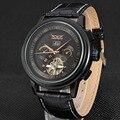 JARAGAR модные классические мужские механические часы повседневные спортивные часы с календарем полые кожаные механические часы с ремешком