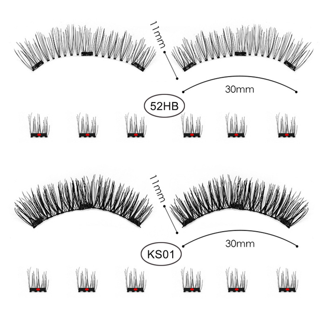 3D/6D False Magnetic Eyelashes Natural Long 25mm Wispy Lashes Strips 3 Magnet Fake Eyelashes Mink Eye Lashes Extension Supplies 5