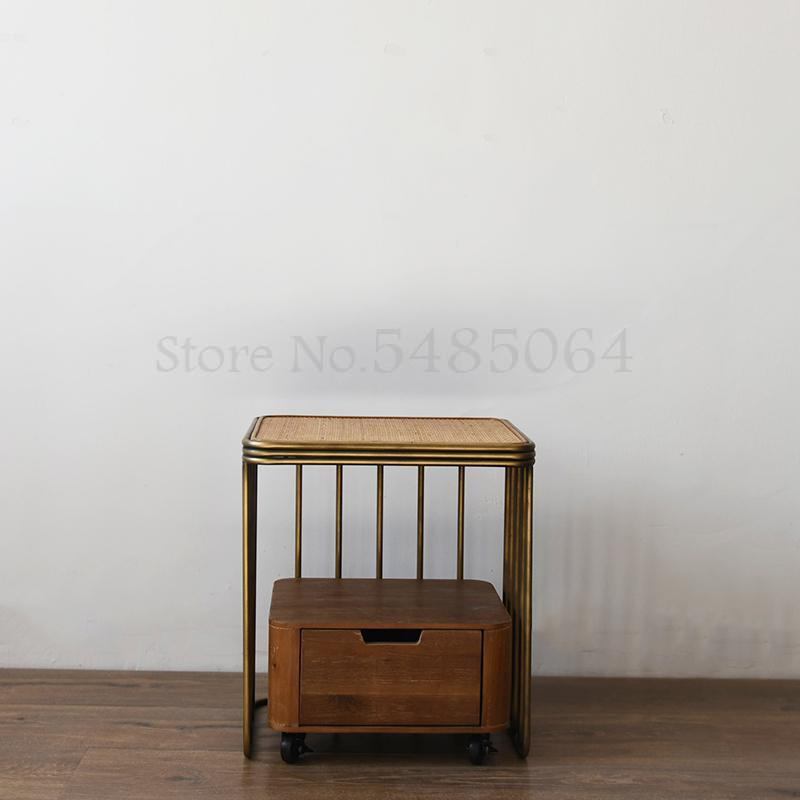 retro rattan wrought iron bedside table small apartment side table wood color antique simple single side cabinet