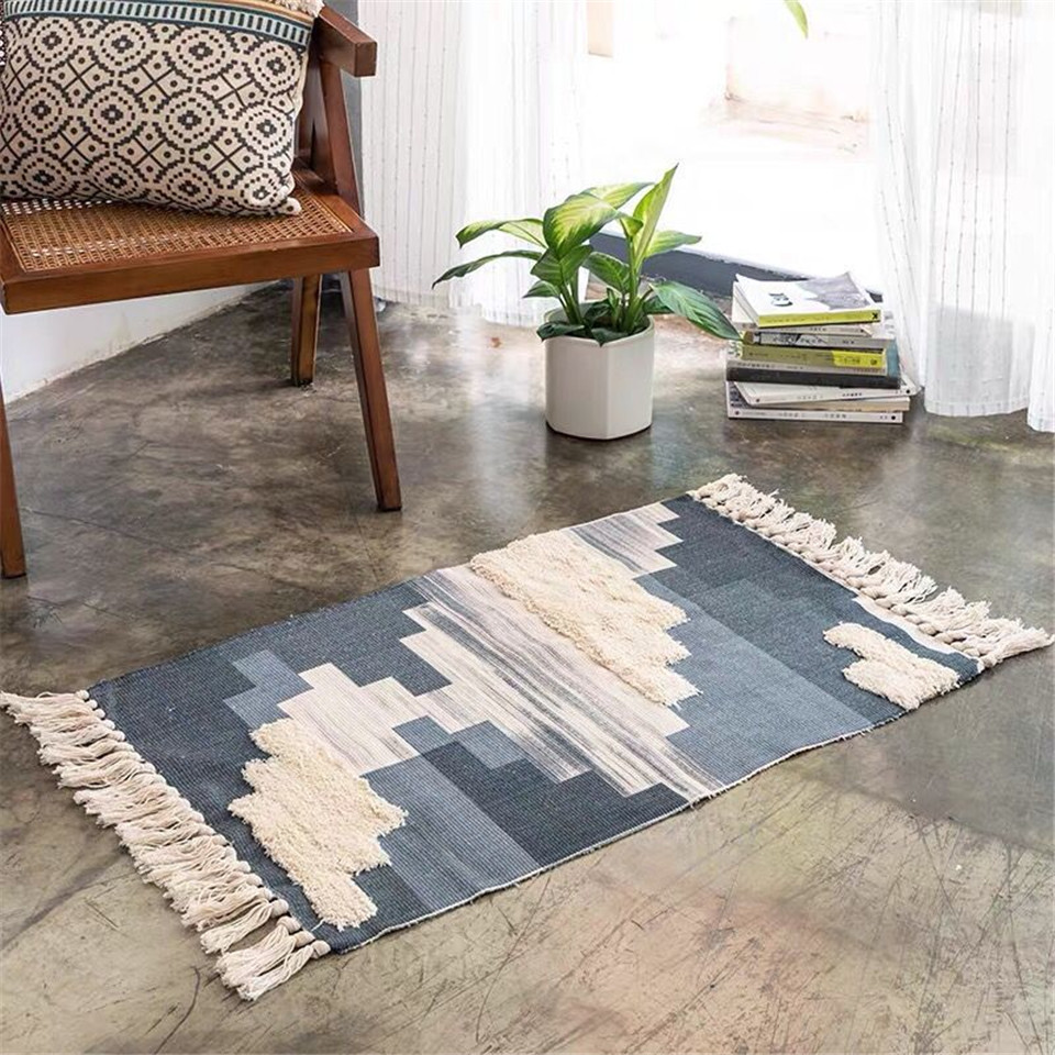 Wishstar Nordic Handmade Tassel Cotton Rug With 3D Tuft Woven Mat In The Hallway Indian Geometric Pattern Bedroom Carpet Ethnic
