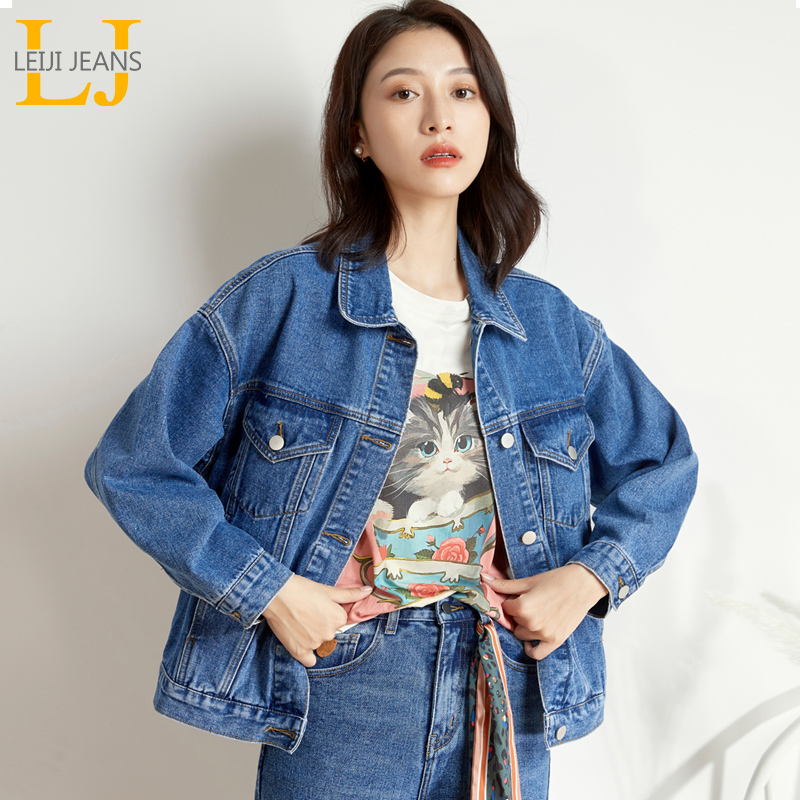 LEIJIJEANS new arrival Women's plus size 6XL long   basic     jacket   Black and blue single women's loose women's black denim   jacket