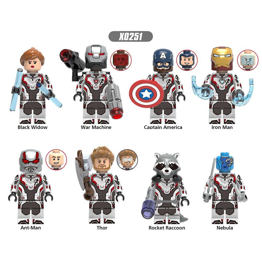 Marvel Comics 8Pcs/set Marvel Guardians Of The Galaxy Blocks Toy Superheroes Groot Star-Lord Figures Doll Toy Iron Man BlocksToy