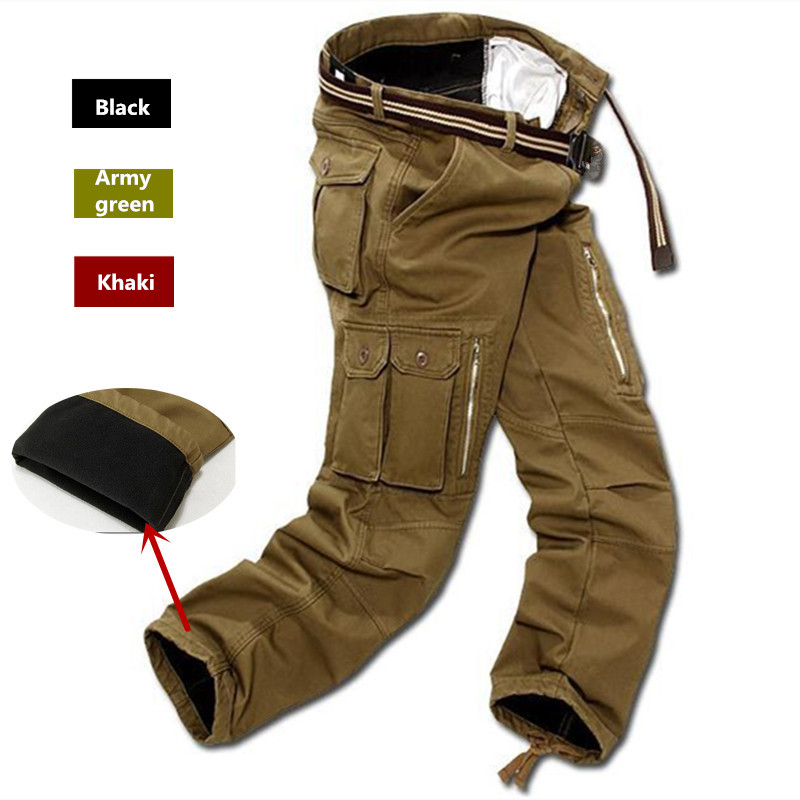 Men Fleece Cargo Pants Winter Thick Warm Pants Full Length Multi Pocket Casual Military Baggy Tactical Trousers Plus Size 29-51