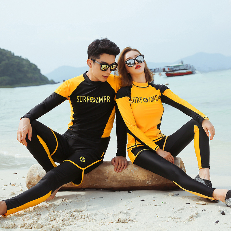 South Korea Long Sleeve Couples Swimsuit 2019 New Style Slimming-Men And Women South Korea Bubble Hot Spring Holiday Diving Suit