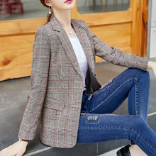 Spring and autumn temperament ladies blazer 2019 new single-breasted plaid jacket female High quality ladies office suit top недорого