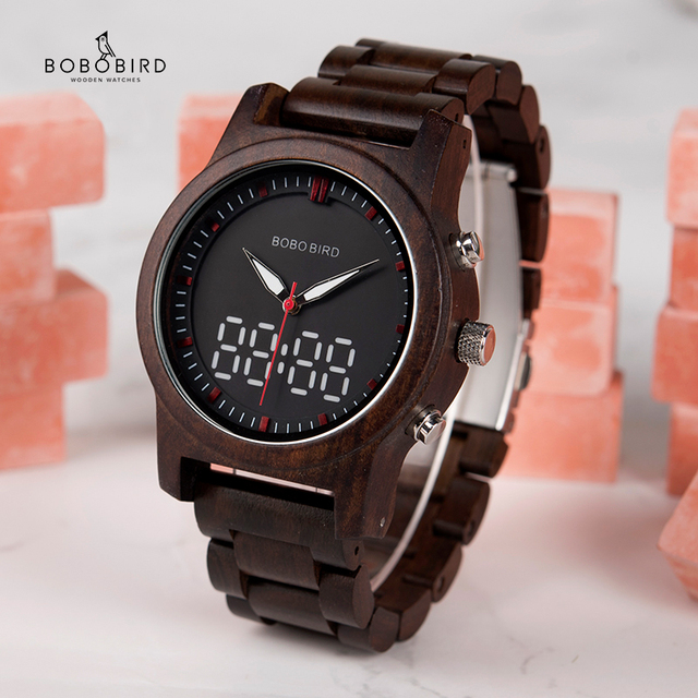 בובו ציפור גברים של שעון דיגיטלי עץ קוורץ שעוני יד תצוגה כפולה עץ שעונים חדש 2019 למעלה מותג C dR02